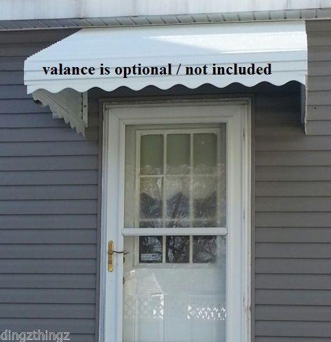 "Door Canopy WHITE window kit WHITE46/"" w x 36/"" p x 15/"" d Aluminum Awning"