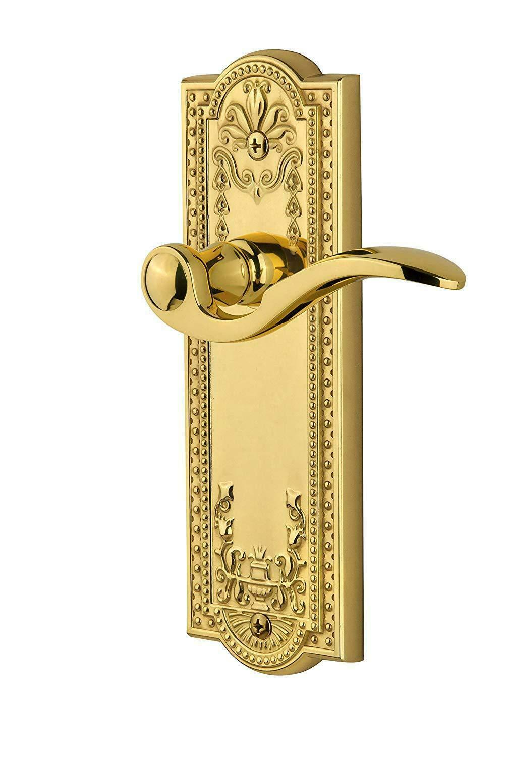 Grandeur Parthenon Plate with Bellagio Lever, Passage - 2.375 , Polished Brass