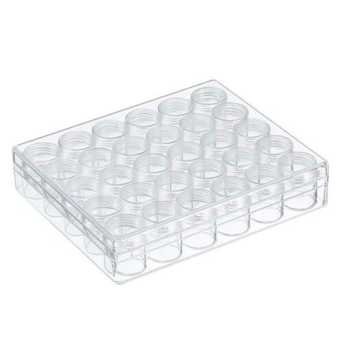 Clear Plastic Bead Jewelry Storage Containers with 30pcs Small Round Jars #3YE