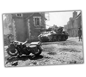 Photo-War-Normandy-Harley-mod-WLA-or-WLC-and-M10-Tank-Glossy-Size-034-4-x-6-034-inch-N