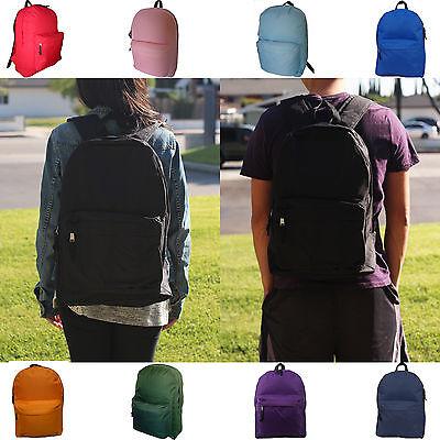 Kids Teens Girls Boys Backpack Student Book Plain School Bag Travel Multi-Color