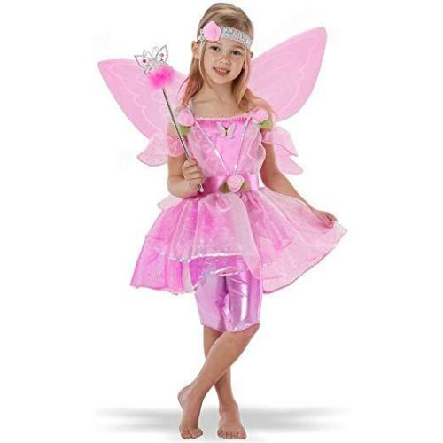 New Girls Pink Fairy Flower sparkly fancy dress costume Age 5 6 Party Play Home