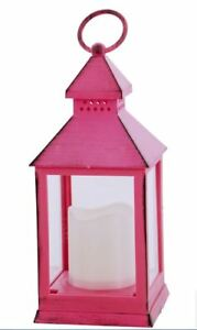 Brush-Hot-Pink-Battery-Operated-Candle-Lantern-9-5-034-8-Hour-Timer-By-Renaissance