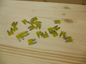 Flachsicherung-10mm-20A-gelb-Mini-Autosicherung-KFZ-Sicherung-2-bis-30Stueck