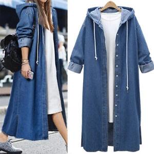 Denim Womens Hooded Jeans Buttons Down Long Sleeve Coat Jacket Cardigan Kaftan