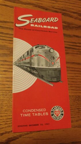 000 Vintage Seaboard Railroad Condensed Time Tables Brochure 1961 Pamphlet