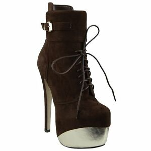 93fc7efe9a07fe Women Two Toned Platform Stiletto Lace Up High Heel Mid Calf Boots ...