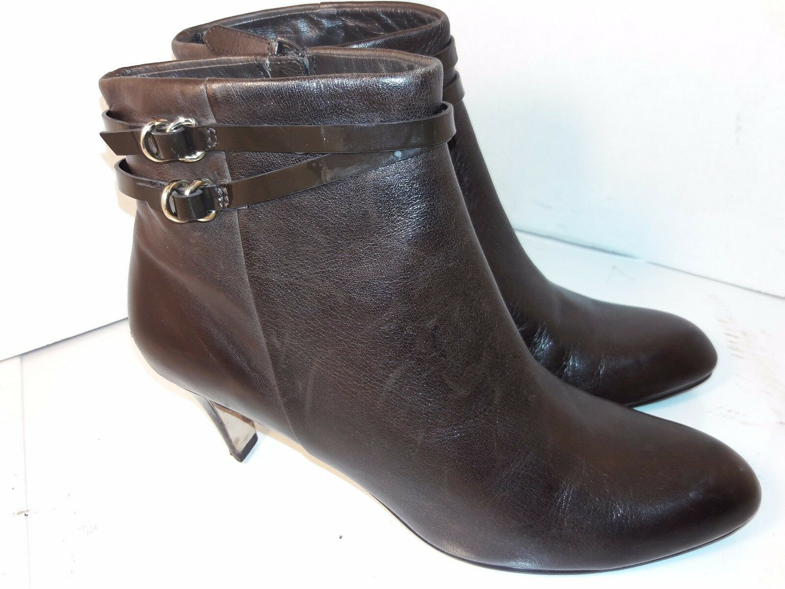 Cole Haan Air Brown Leather Bootie Ankle Boots Side Zipper Womens Sz 9 B