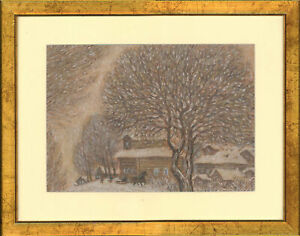 Framed-20th-Century-Pastel-A-Winter-Landscape