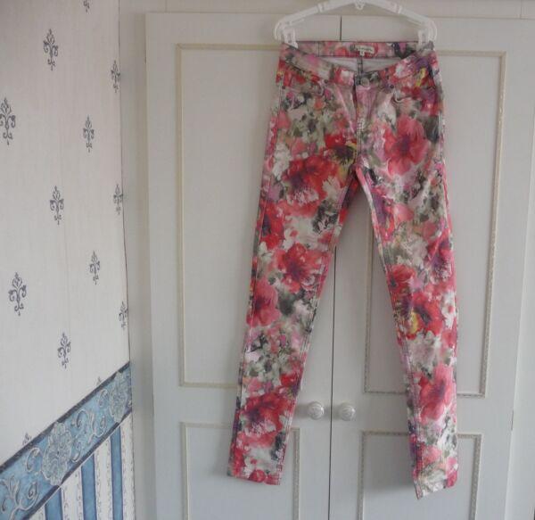 ** Splendida Donna Floreale Jeans Attillati-bella Ragazza (taglia Xs) ** Qualità Eccellente