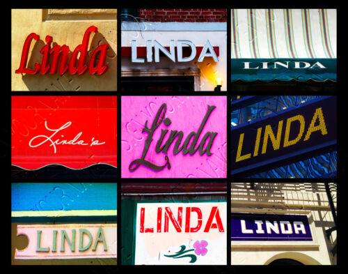 LINDA Name Poster featuring actual sign photos
