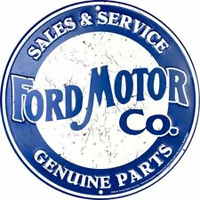 "FORD MOTOR CO. SALES & SERVICE 12"" ROUND METAL RETRO EMBOSSED SIGN GENUINE PARTS"