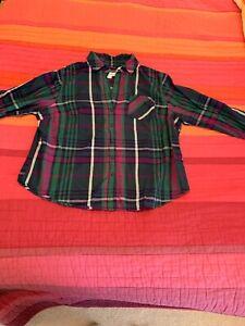 aee64ac1336 Womens Plus Size Ava Viv Plaid Flannel Look Shirt Top Button Up Blue ...