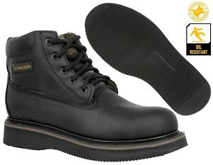 Mens Black Work Boots Genuine Leather