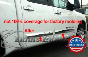 Fit-2004-2015-Nissan-Titan-Crew-Cab-4Pc-Chrome-Body-Side-Molding-Trim-Overlay-3-034