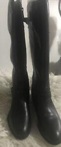 NWOB Retails $99.00 Chaps  Black Buckle Knee High Inner Zipper Riding Boots 8B