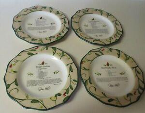Paula Deen Christmas Home for the Holidays Cardinal Set of 4 Recipe Plates