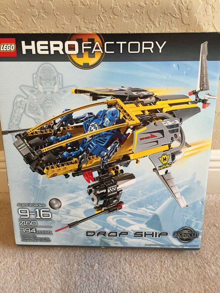 LEGO HERO FACTORY 7160 Boîte d'origine jamais  ouverte Ages 9+ Drop Ship Bionicle 394 Pièces Building Toy  confortablement