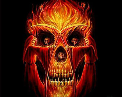 FLAMING DEATH CROSS STITCH CHART BN!