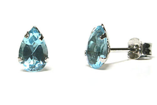 9ct White Gold Blue Topaz Teardrop Stud Earrings Gift Boxed