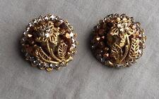 Vintage Early Rhinestone Filigree Flower Earrings