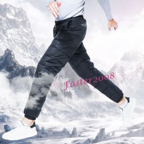 New Outdoor Men/'s Duck Down Warm Pants Winter Hiking Climbing Camping Trousers