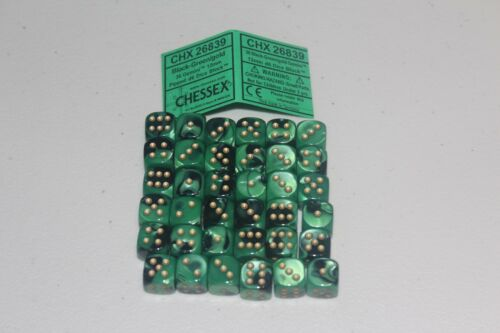 Chessex Black Green Gold 36 Scarab 12mm Pipped Dice CHX 26839