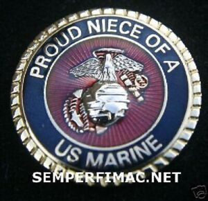 PROUD NIECE OF A US MARINE HAT LAPEL PIN MARINES WM AUNT UNCLE BOOT CAMP WOW