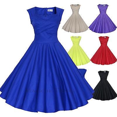 Magic Castl 50s VTG Retro Pinup Hepburn Rockabilly Full Swing Business Dress 567