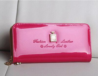Fashion Clutch Bag Charm Shiny Patent Leather Single Zipper Wallet Women Handbag