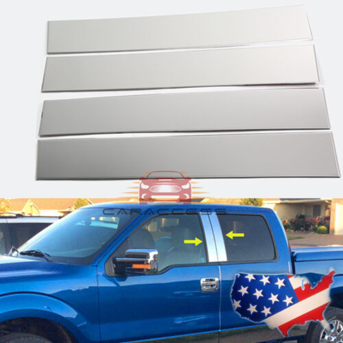 For 2004-2014 Ford F150 Super Cab Crew Stainless Steel Chrome Pillar Post Trim