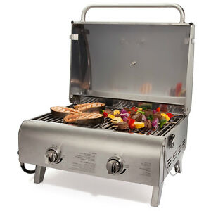 bar b q grill propane small gas grills portable bbq two burner stainless steel ebay. Black Bedroom Furniture Sets. Home Design Ideas