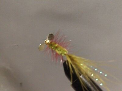 Olive//Red Tag Silver Spinner Fly Sold per 3 Size 6 HOT** Trout//Freshwater