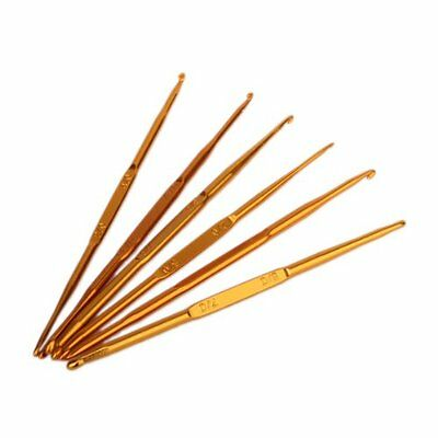 6Pcs Golden Aluminum Double End Crochet Hook 2.0 - 7.0mm T1