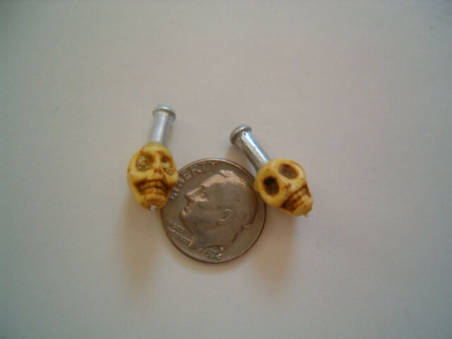 Skull brake cable ends crimps cool BMX, Road,Fixie, Single Speed   (yellow)