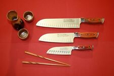 PRO LINE Sushi Knife Set w- Red Wood Handles. 3 Knives Chef, Santoku, Utility