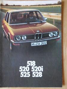BMW-5-SERIES-SALOONS-1976-1977-UK-Mkt-Sales-Brochure-Prospekt-E12-520i-525-528