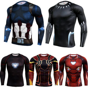 Men-039-s-Compression-Marvel-3D-Shirt-Long-Sleeve-Costume-Cosplay-Tops-Wicking-Tee