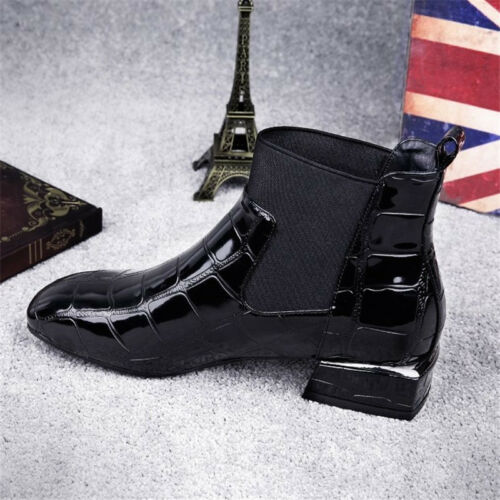 Womens Fashion Chelsea Boots Block Low Heel Ankle Booties Square Toe Shoes New