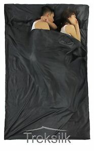 TREKSILK-Double-BLACK-Sleep-Sack-Travel-Silk-Sleeping-Bag-Liner-Hostel-Trip