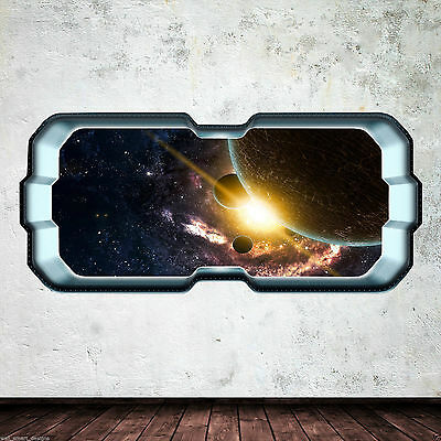 SpaceShip Window Stars Planets Full Colour Wall Art Sticker Decal Boys Bedroom