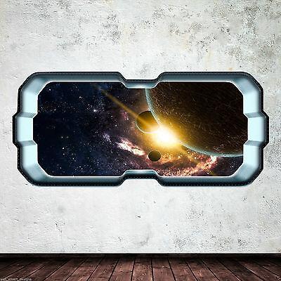 SpaceShip Window Stars Planets Full Colour Wall Art Sticker Decal Boys WSDFC6773