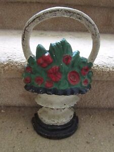 Cast-Iron-Door-Stop-Old-Fashioned-Flower-Basket-Heavy