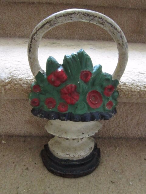 Cast Iron Door Stop Old Fashioned Flower Basket Heavy