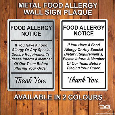 Restaurant Bar Pub Cafe Food Allergy Notice Silver Metal Wall Sign Plaque