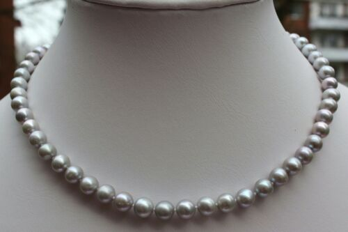 A1G 44cm Echt Süßwasser Zucht Perlen Schmuck Perlenkette Halskette Kette Collier