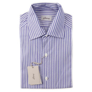 NWT-425-BRIONI-Blue-and-White-Striped-Short-Sleeve-Cotton-Shirt-L-Large