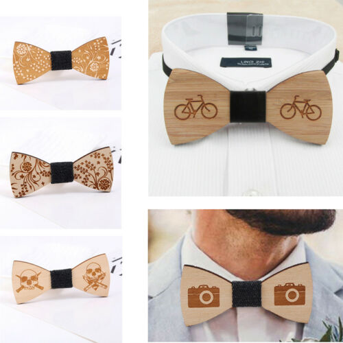 Men/'s Retro Simple Fashion Handmade Wooden Bowtie Wood Bow Ties Wedding Party