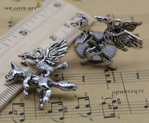10pcs retro style fox and swan alloy charms pendant 31x29mm