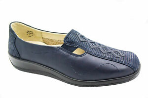 In Ladies Fitting £62 Wide Hotter Shoe Navy Calypso Comfort Rrp x5qfYPvfw